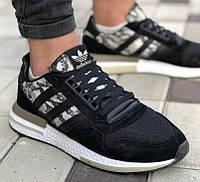 Мужские кроссовки Adidas ZX 500 RM boost black camo черные (Реплика ААА+)