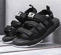 Мужские сандалии New Balance Sandals летние босоножки черные с белым. Живое фото (Реплика ААА+)