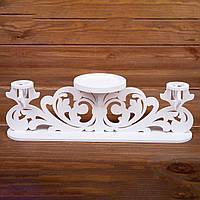 Тройной деревянный подсвечник (арт. CL-001)