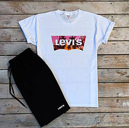 Мужской летний комплект шорты и футболка Levis мужская белая с черным. Живое фото