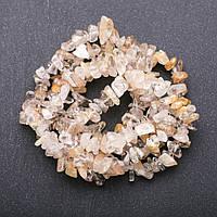 Бусины натуральный камень Кварц рутиловый золотистый, Хрусталь на нитке крошка d-6-9мм(+-) L-85см
