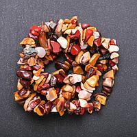 Бусины натуральный камень Яшма Мукаит на нитке крошка d-6-8мм(+-) L-85см