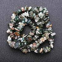 Бусины натуральный камень Моховый Агат на нитке крошка d-8-9мм(+-) L-85см