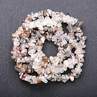 Намистини натуральний камінь Кришталь, асорті каменів на нитці крихта d-4-6мм(+-) L-85см