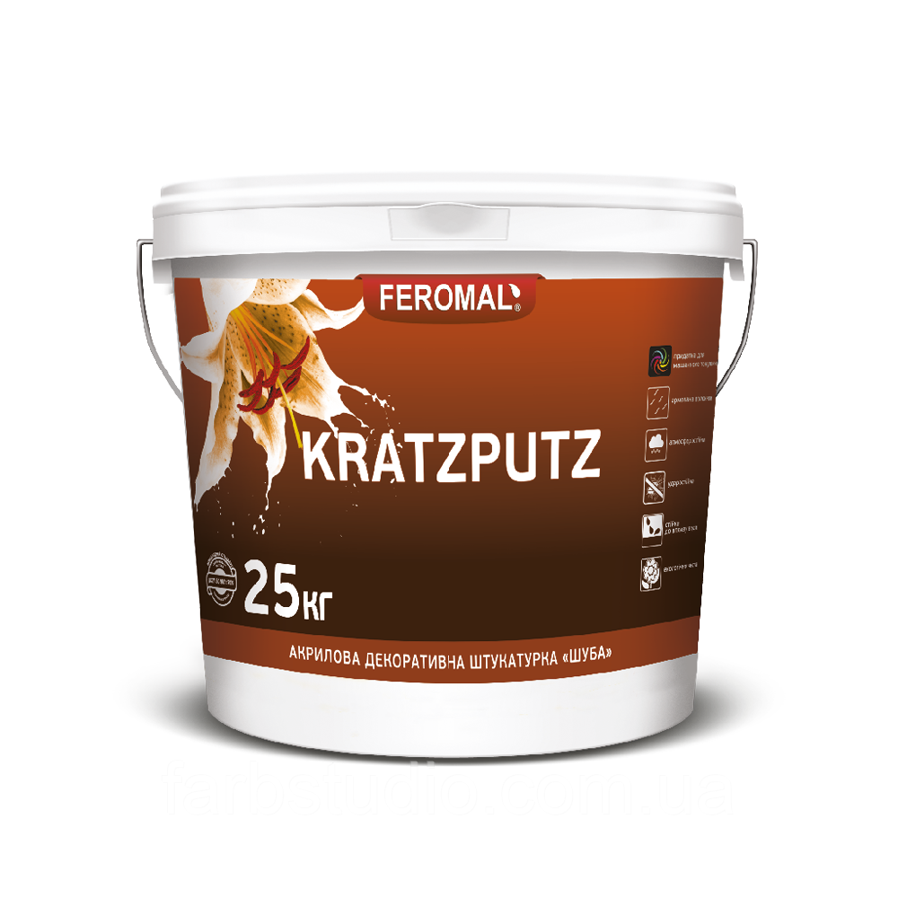 Штукатурка декоративная акриловая KRATZPUTZ ШУБА 25 кг зерно 1,5 мм 2 мм 2,5 мм