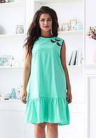 Женское платье с воланом внизу, мята. Размеры 46-56