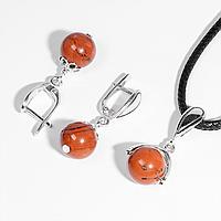 Комплект серебряных украшений кулон и серьги с красной яшмой, Ø10 мм., 081КМЯ