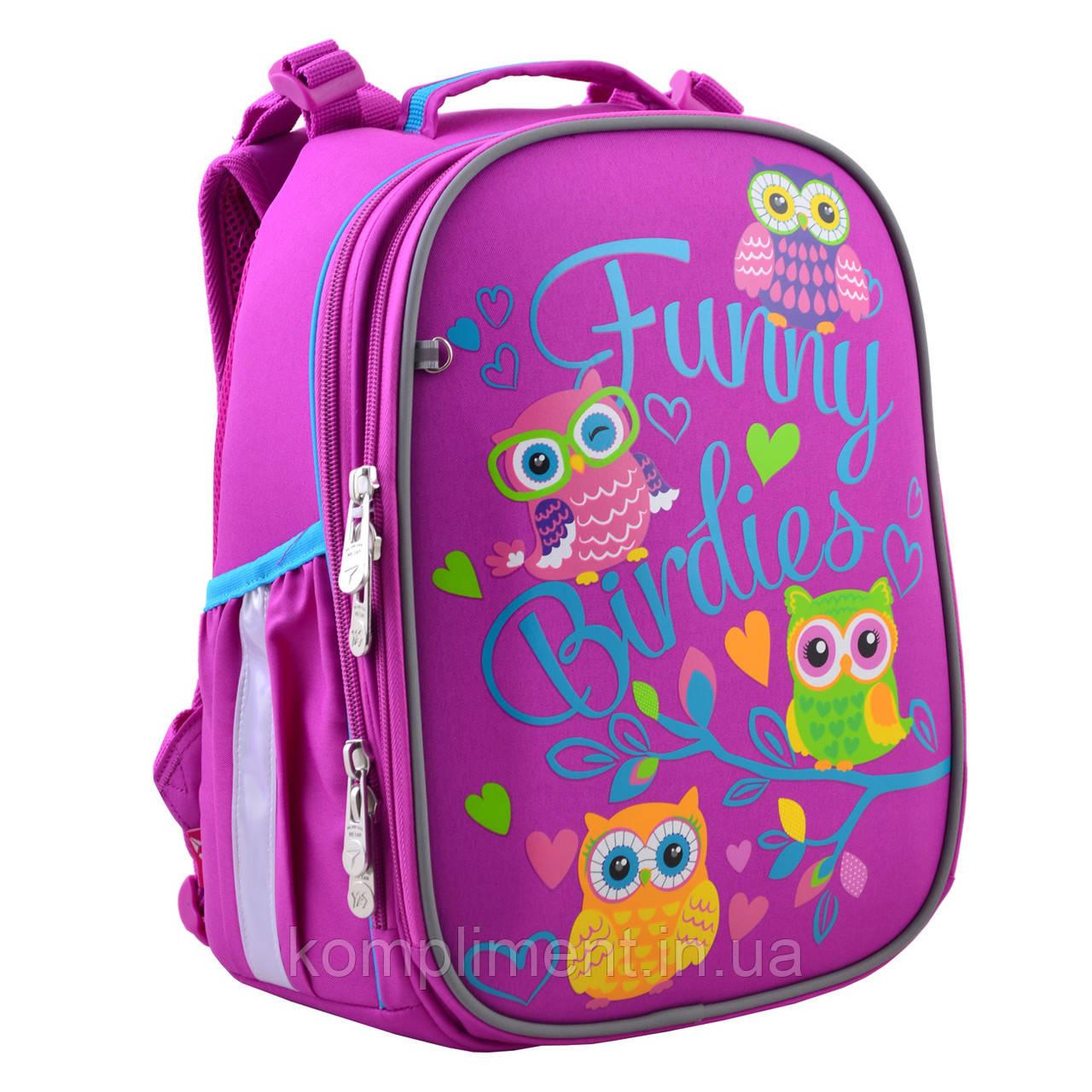 """Рюкзак шкільний каркасний ортопедичний для дівчинки H-25 """"Funny Birdies"""", YES"""
