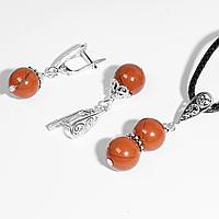 Комплект серебряных украшений кулон и серьги с красной яшмой, Ø10 мм., 082КМЯ
