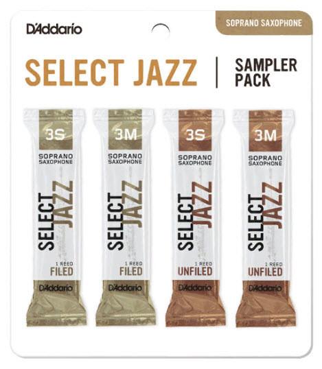 4 шт. D`ADDARIO Select Jazz Reed Sampler Pack - Soprano Sax 3S/3M Набор тростей сопрано саксофона