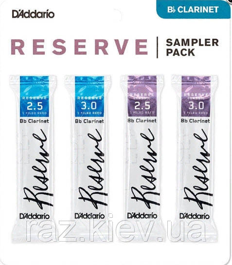 4 шт. D`ADDARIO Reserve Reed Sampler Pack Filed - Bb Clarinet #2.5/3.0 Набор тростей для кларнета Bb