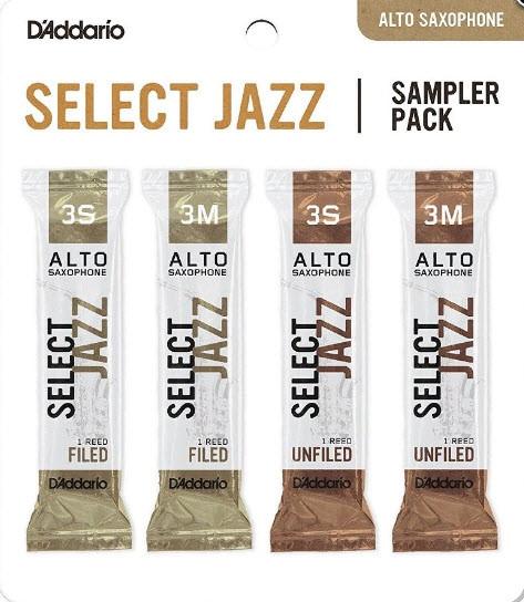 D`ADDARIO Select Jazz Reed Sampler Pack - Alto Sax 3S/3M Набор тростей для альт саксофона 4шт