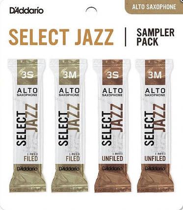 D`ADDARIO Select Jazz Reed Sampler Pack - Alto Sax 3S/3M Набор тростей для альт саксофона 4шт, фото 2