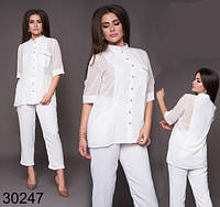 Вечерний женский костюм брюки + блузка с сеткой р. 48-50, 52-54, 56-58, 60-62 (белый)