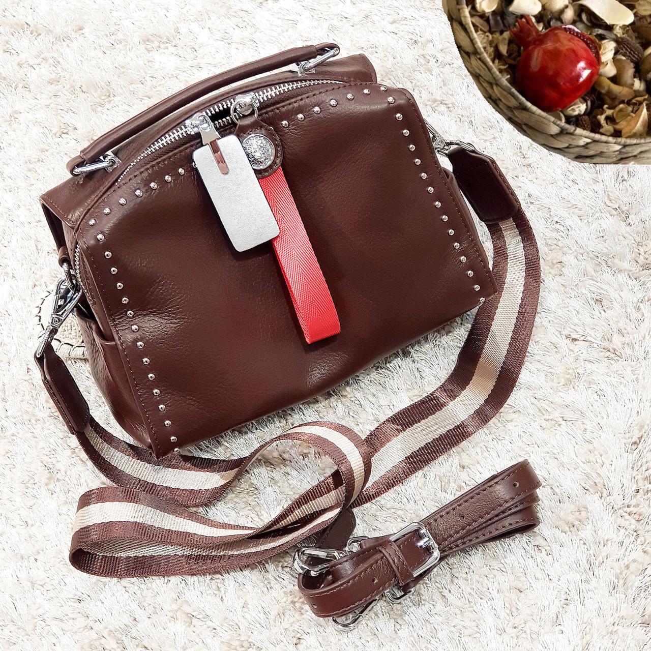 Женская маленькая сумка шоколадная