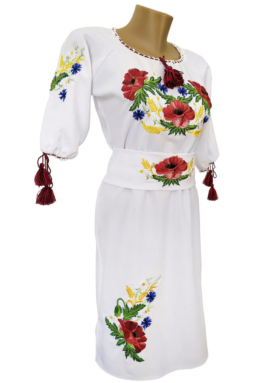 Біла вишита жіноча сукня великих розмірів  із рукавом 3/4 «Мак-волошка»