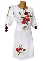 Вышитое женское платье до колен в белом цвете с цветочным орнаменнтом «Мак ромашка»
