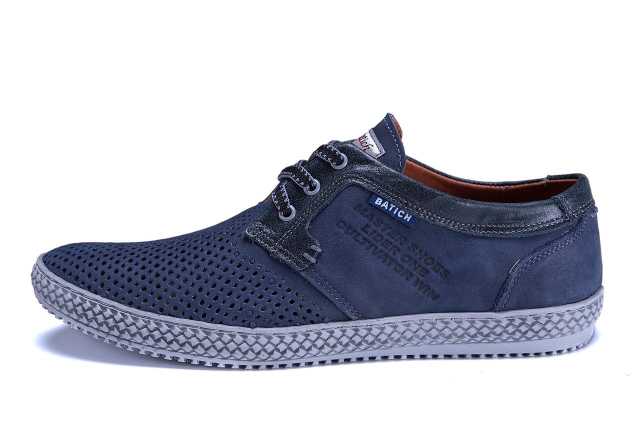 Мужские кожаные летние туфли, перфорация Batich Blue ocean