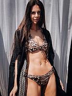 Купальник женский раздельный из бифлекса с леопардовым принтом (К27962), фото 1