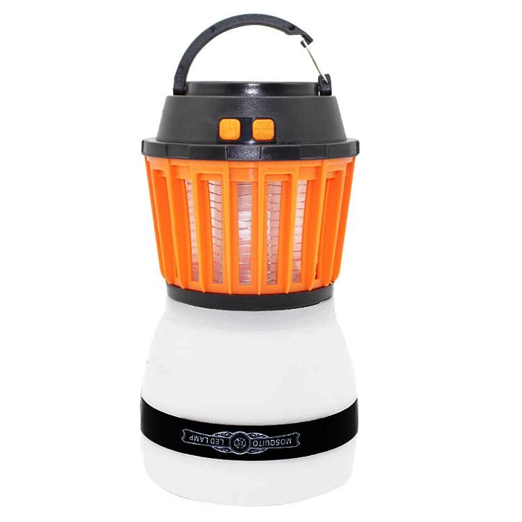 Ліхтар для кемпінгу SUNROZ Travel Light знищувач комарів і комах 2 в 1 2200 mAh Сіро-Оранжевий (SUN4556)