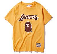 Футболка Bape x Lakers жёлтая (бейп лейкерс мужская женская)