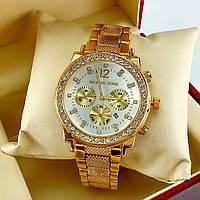 Женские часы Michael Kors на металлическом браслете, с серебристым циферблатом, золотого цвета, с датой