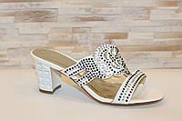 Шлепанцы женские белые на каблуке Б245, фото 1