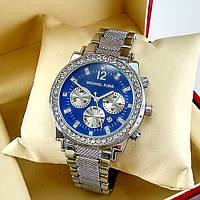 Женские часы Michael Kors на металлическом браслете, с синим циферблатом, серебряного цвета, с датой