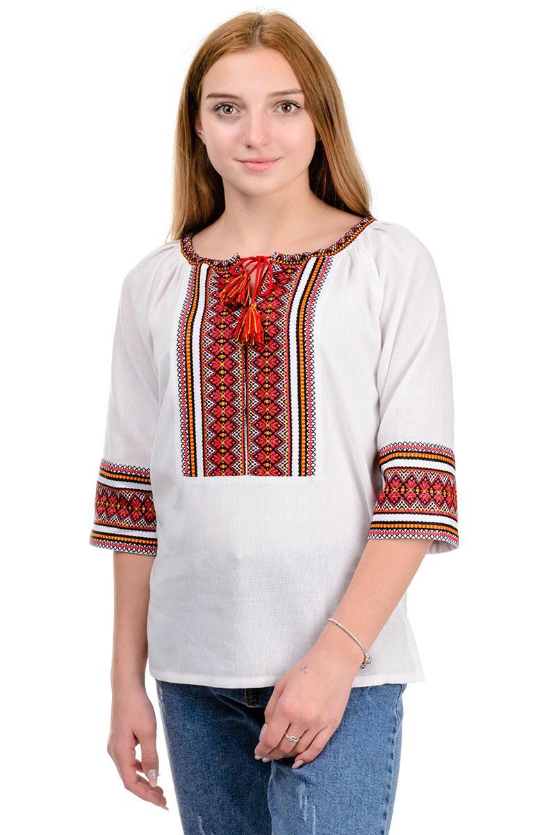 """Современная блуза """"Вышиванка"""" красный орнамент"""
