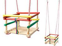 Гойдалка дитяча дерев'яна закрита, качеля підвісна, фото 1