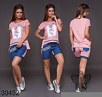 Жіночий літній костюм:футболка і шорти , 9 кольорів .Р-ри 42-46, фото 1