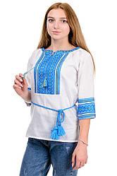 """Жіноча блуза """"Вишиванка"""" блакитний орнамент"""