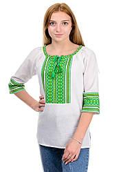 """Ошатна жіноча блуза """"Вишиванка"""" зелений орнамент"""