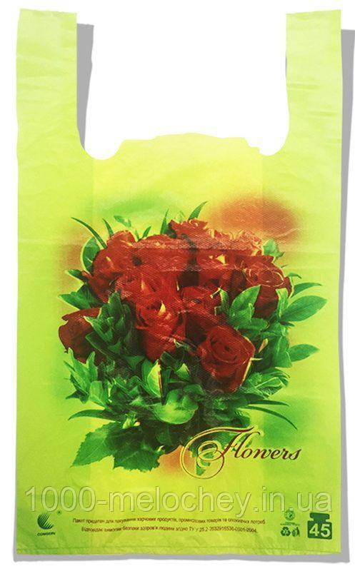 "Пакет-майка ""Троянди"" Comserv 45 кг (35×57) 100 шт"