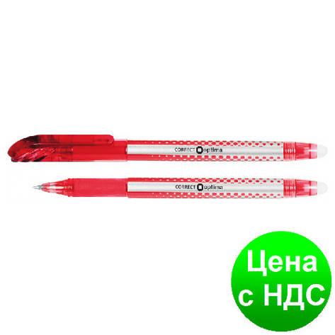 Ручка шариковая пиши-стирай OPTIMA CORRECT 0,5 мм, пишет красным O15338-03, фото 2