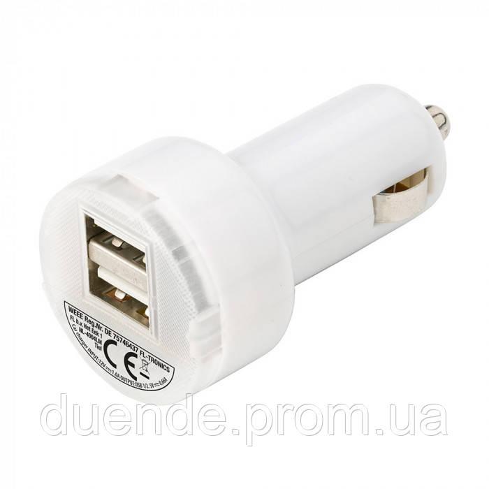 Автомобильный адаптер с USB с двумя портами, Белый - su 95328002