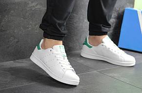 Кроссовки мужские Adidas Stan Smith белые с зеленым, фото 2