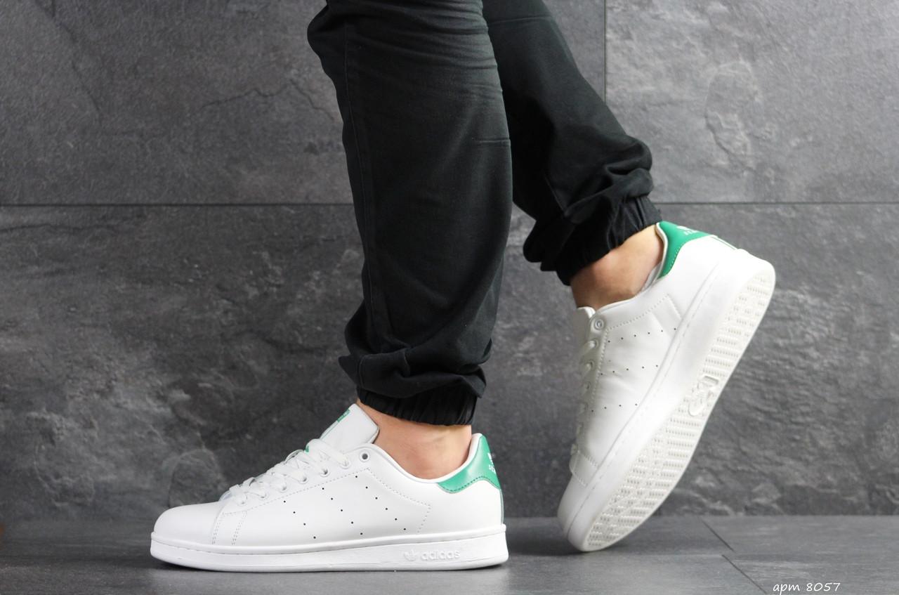 Кроссовки мужские Adidas Stan Smith белые с зеленым