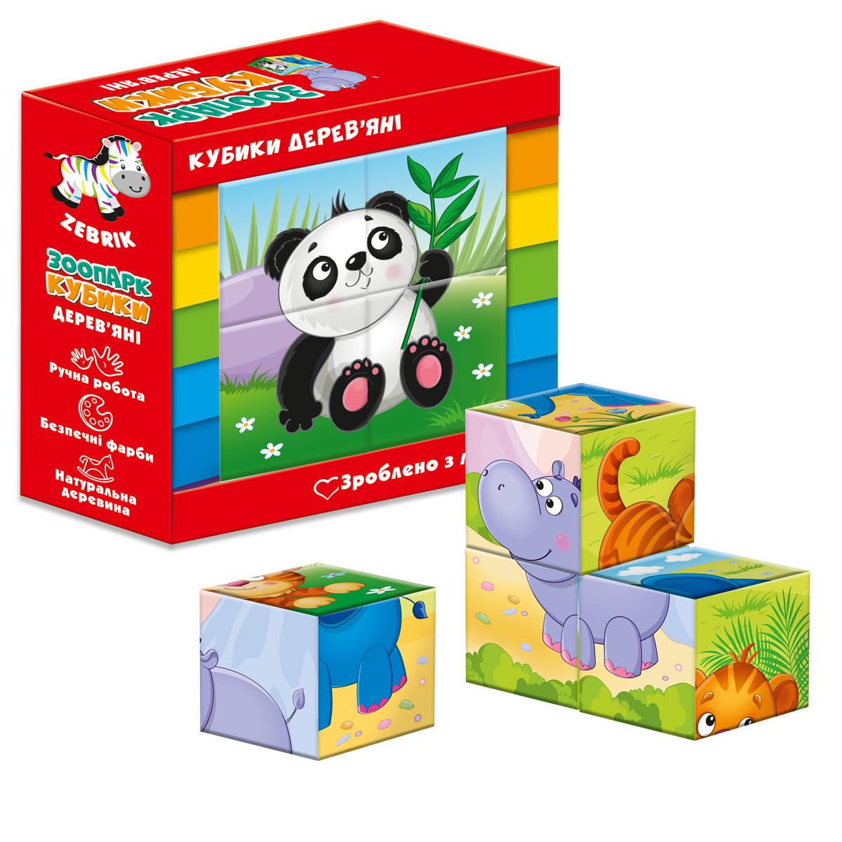 Дерев'яні кубики Vladi Toys Зоопарк (Укр) (ZB1001-02)