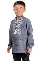 Красивая вышиванка детская Орнамент (серый)