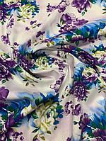 Летняя ткань стрейч-коттон на белом фоне
