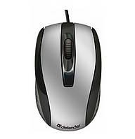 Компьютерная мышка проводная USB DEFENDER Optimum MM-140 Черный / Серебряный