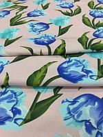 Летняя ткань стрейч-коттон тюльпаны на нежно-розовом фоне