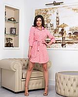Платье-рубашка принт белый горох на розовом  фоне