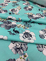 Летняя ткань стрейч-коттон бирюзовый, фото 1