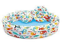 Детский надувной бассейн Intex 59469 «Аквариум», 132*28 см, с мячом и кругом
