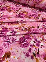 """Ткань одежная креп-костюмка """"Барби"""" розовый с розами, фото 1"""