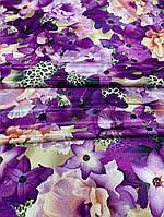 """Шёлк """"Армани"""" принтованный с фиолетовыми лилиями, фото 1"""