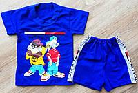Детский летний костюм модный  для мальчика шорты футболка