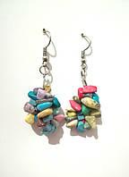 Серьги из крошки натуральных камней, цвет разный, тм Satori \ S - 0253